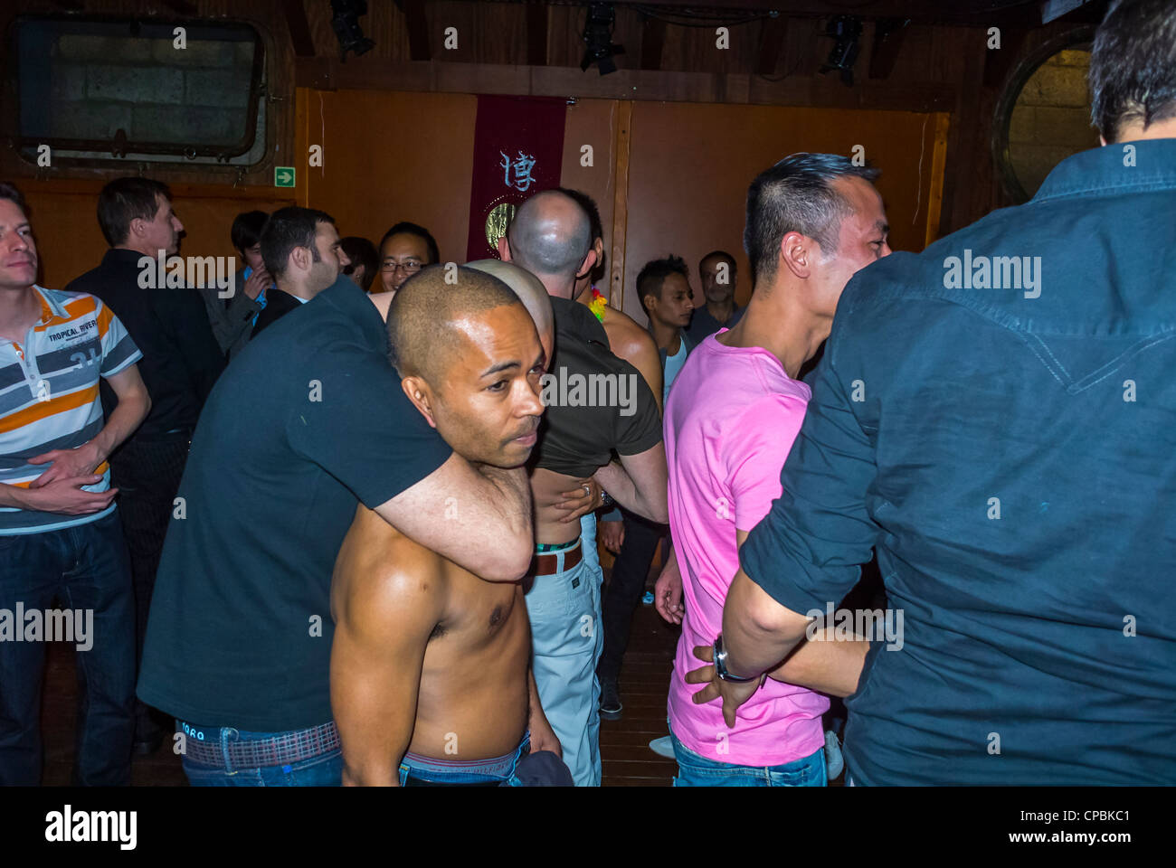 Paris, France, Crowd of French People, Asian Gay Men, Association Birthday  Party