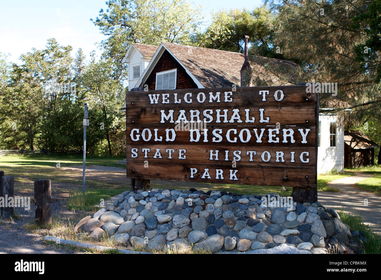 Marshall Gold Discovery state historic park sign Coloma California USA - Stock Image