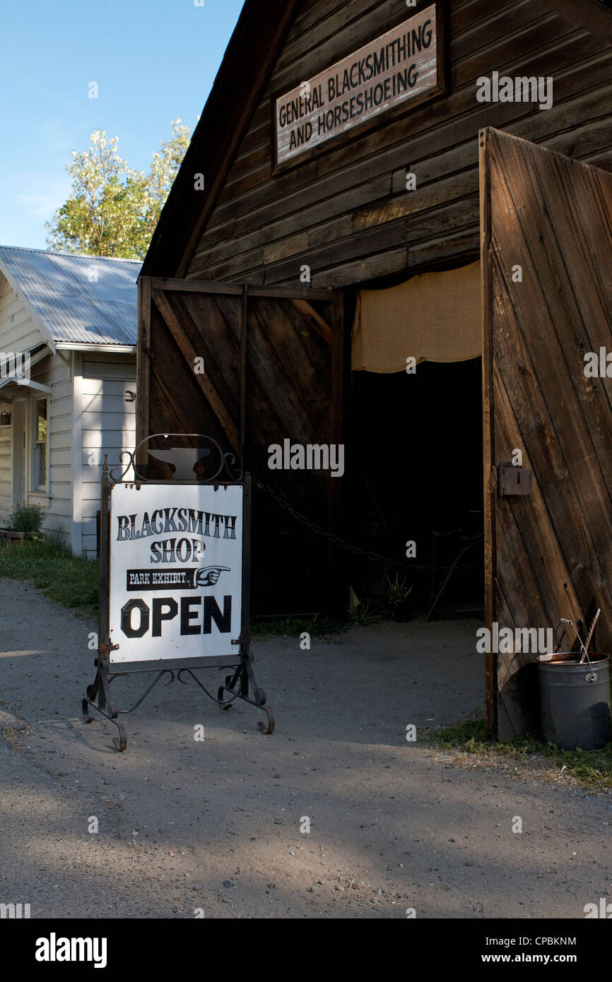 The Blacksmiths shop in the Marshall Gold Discovery state historic park - Stock Image
