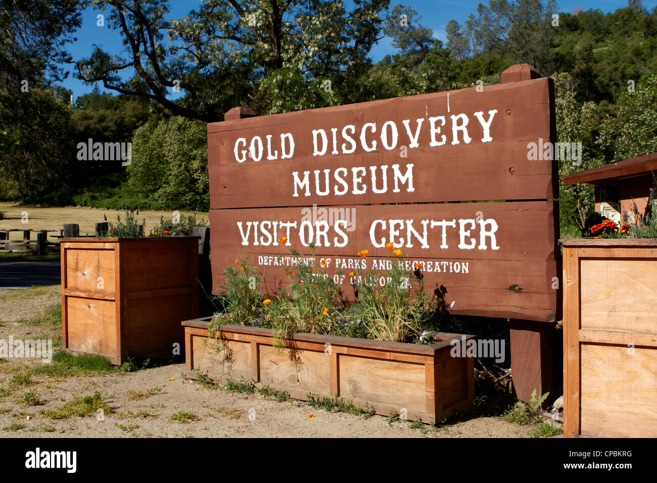 James Marshall gold discovery museum and visitor center sign Coloma Califonia - Stock Image