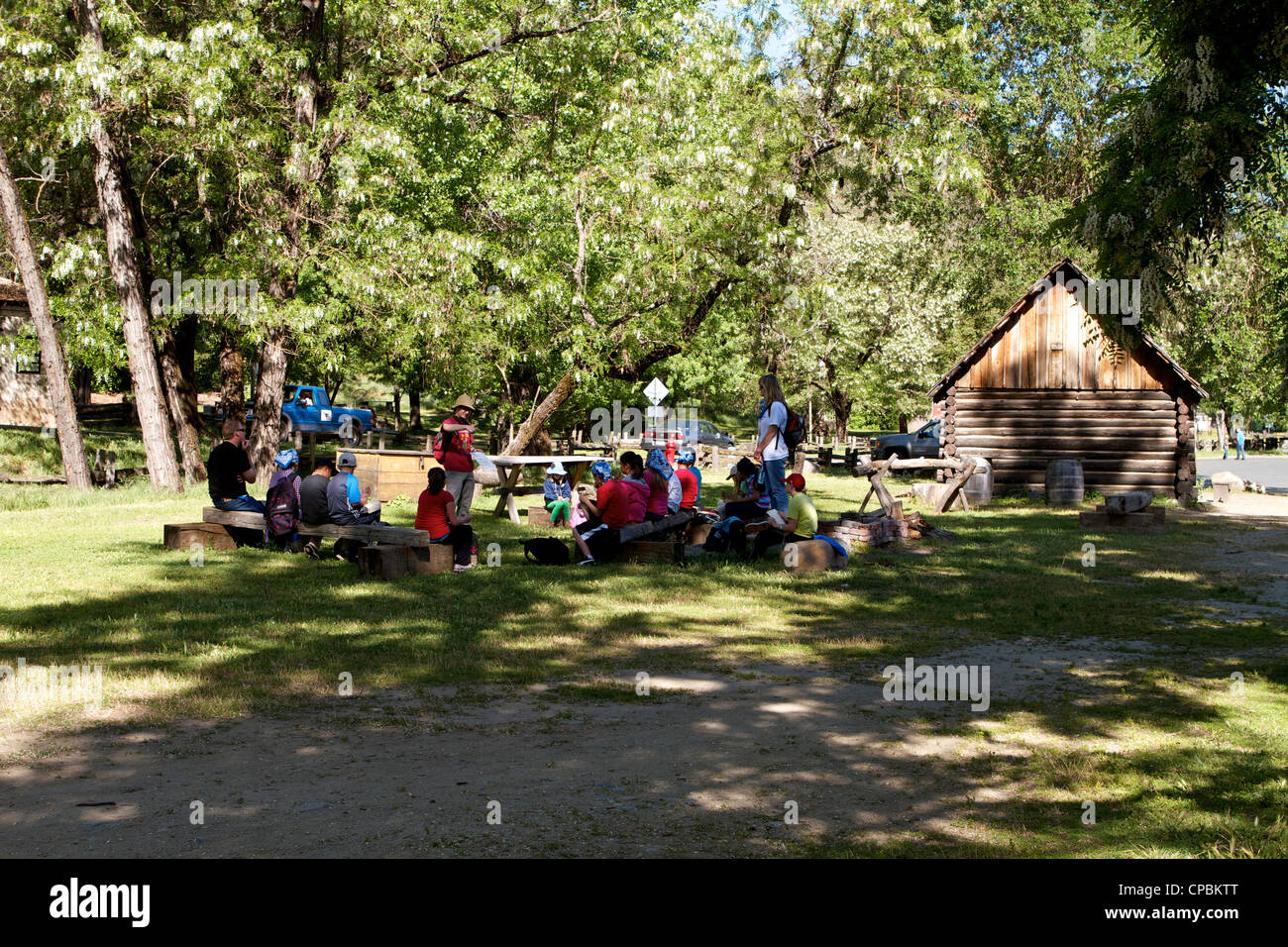 Students at the Marshall Gold Discovery state historic park in Coloma El Dorado County California USA - Stock Image