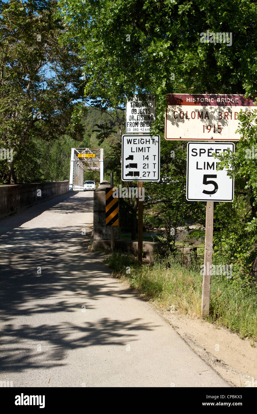 Car crossing the Historic Coloma Bridge over the south fork of the American river at the Marshall Gold Discovery - Stock Image