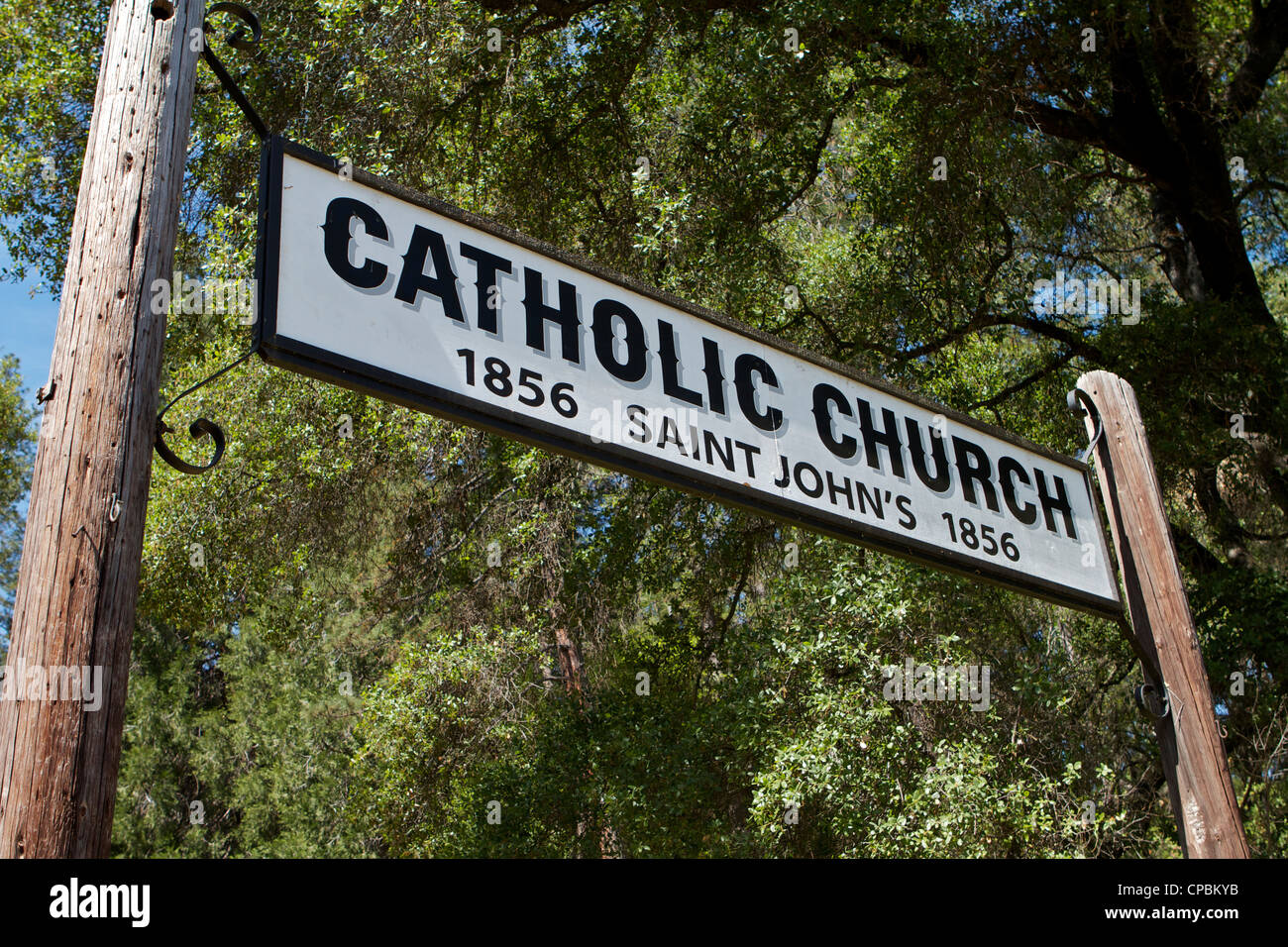 the sign at the Catholic church of St Johns at the Marshall Gold Discovery state historic park in Coloma California - Stock Image
