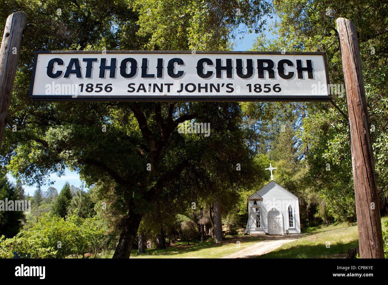 The sign at the entrance to the Catholic church St Johns at the Marshall Gold Discovery state historic park in Coloma - Stock Image