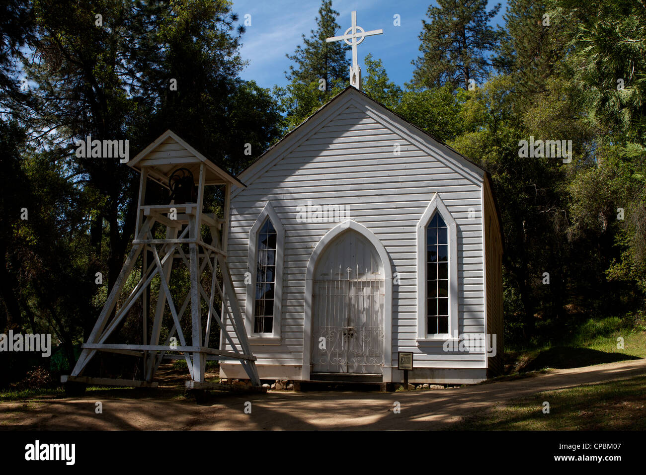 The front view of  the Catholic church St Johns at the Marshall Gold Discovery state historic park in Coloma California - Stock Image