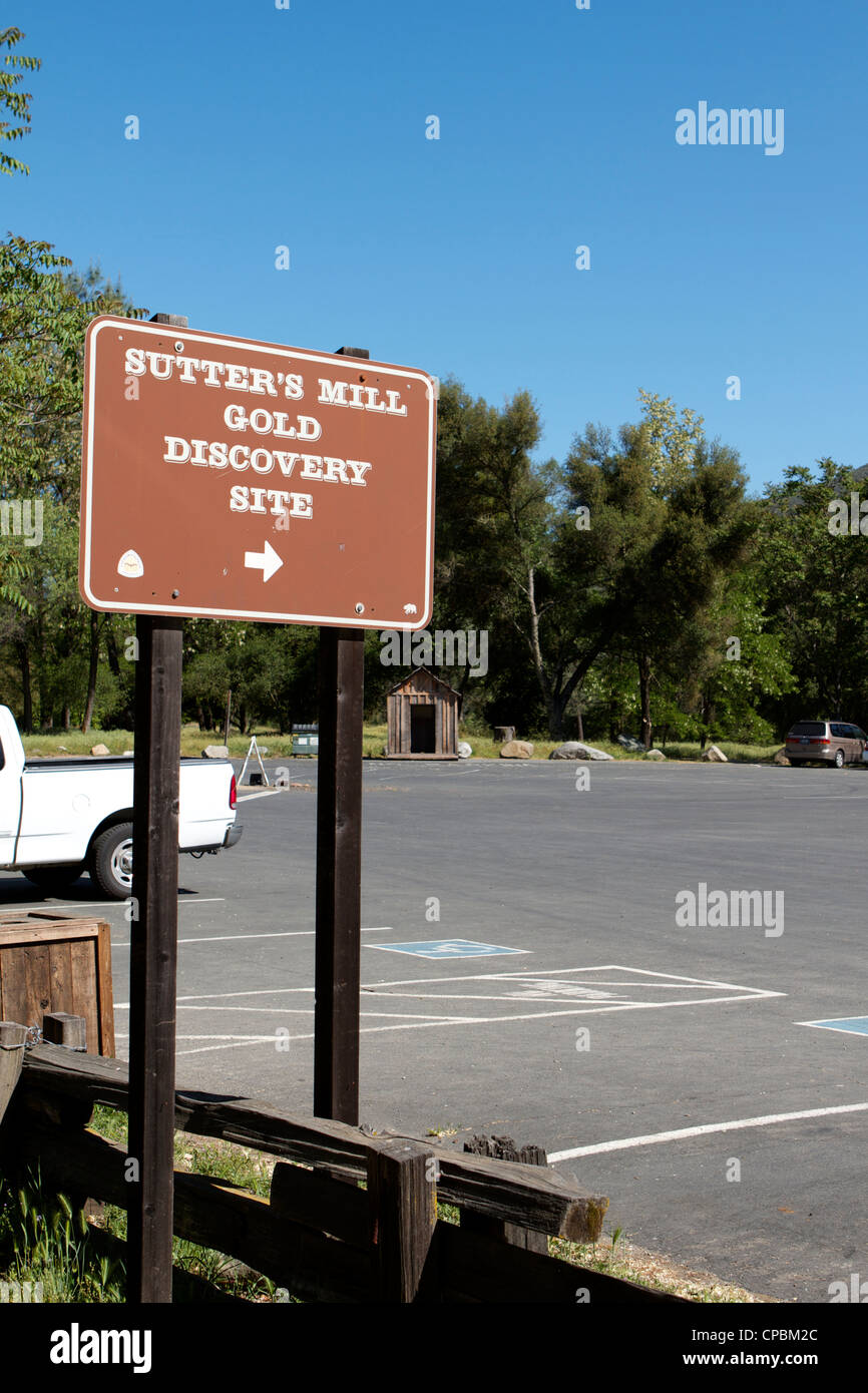 Sutter's Mill gold Discovery site sign state historic park Sutter's Mill - Stock Image