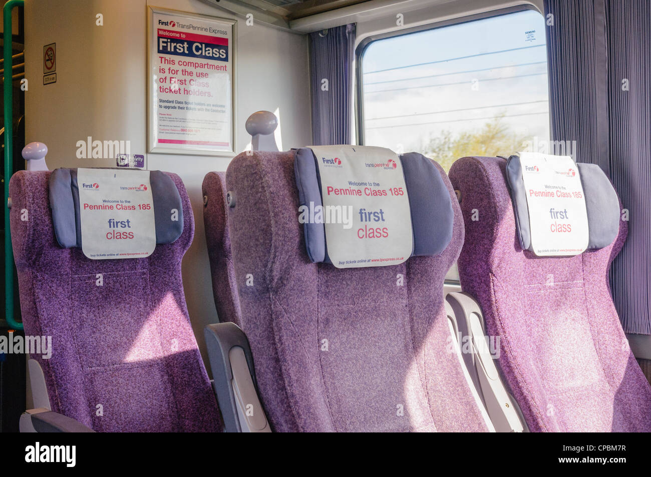 Empty seats in a first class carriage on a Trans Pennine train - Stock Image