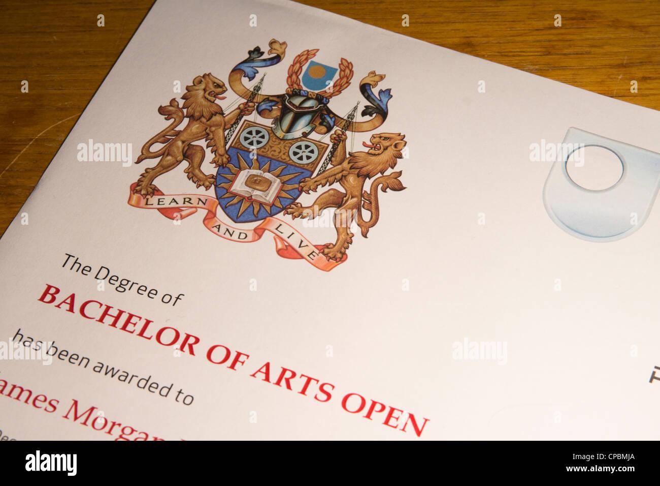 Open University Degree Certificate - Stock Image