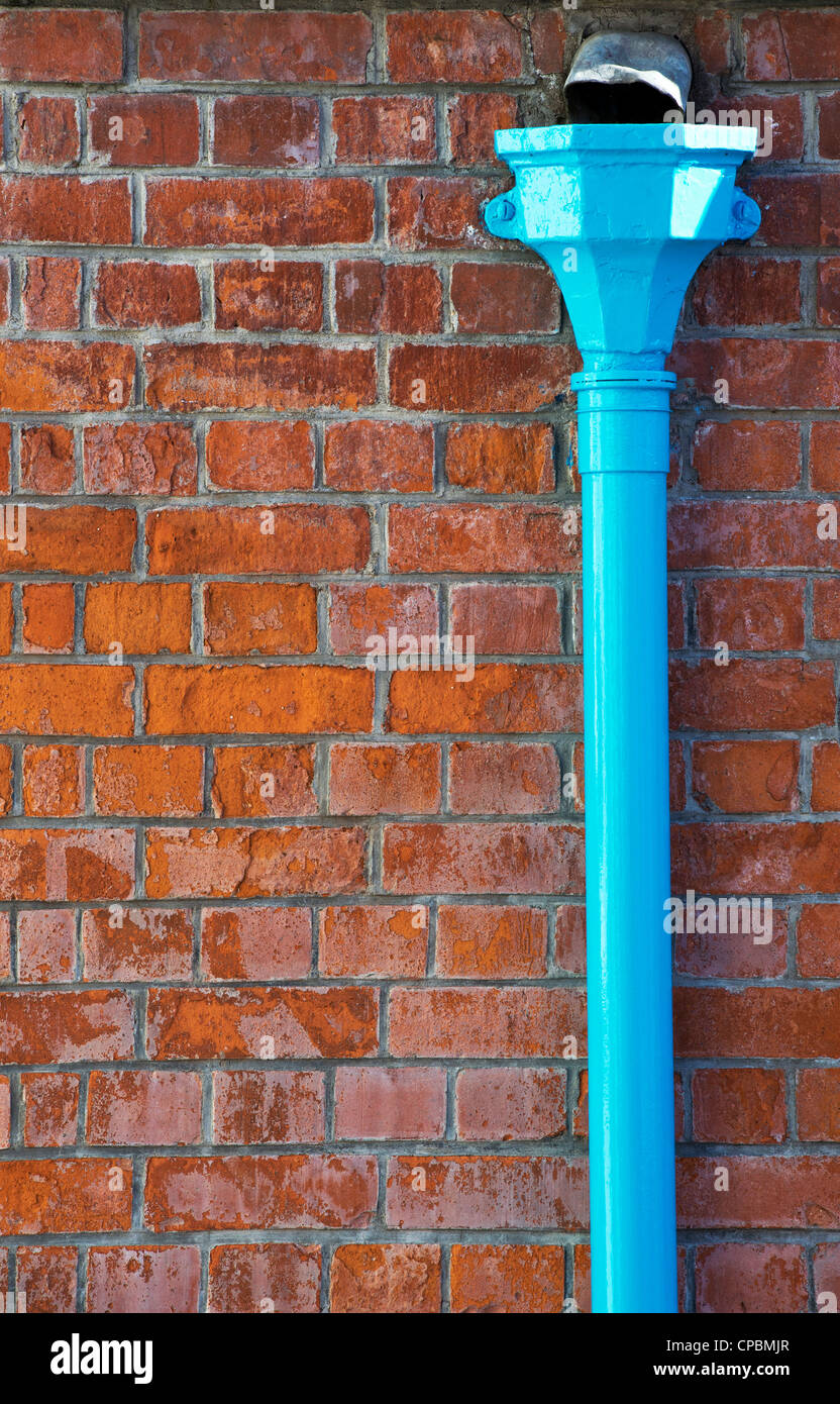 Blue Drainpipe against a red brick wall. England - Stock Image