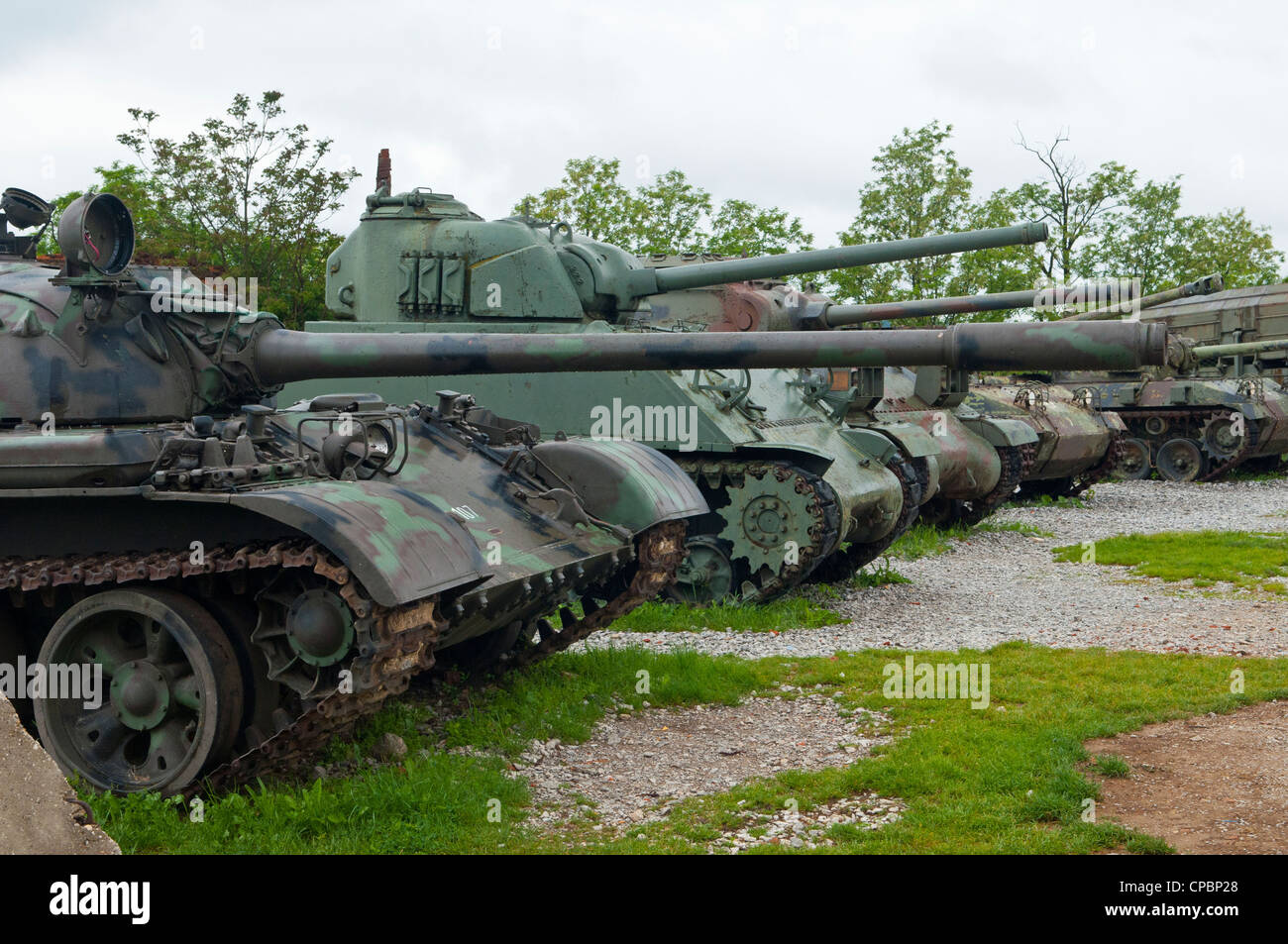 Open air war museum in Karlovac in Croatia, showing  military tanks. - Stock Image
