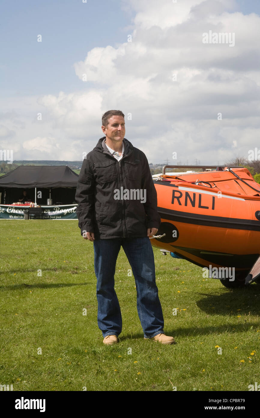 North Wales UK Iolo Williams TV personality recording an episode for a S4C welsh language programme - Stock Image