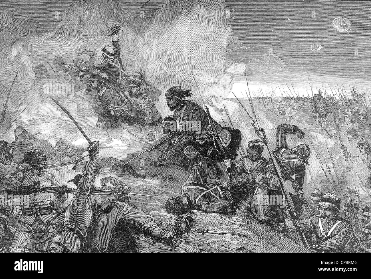 BATTLE OF TEL-EL-KEBIR 13 September 1882. The Highland Brigade reinforcements fighting the Egyptian Army - Stock Image