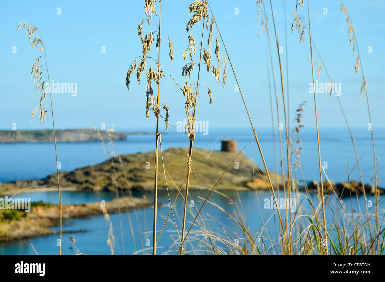 View towards the old defence tower of Sa Torreta on the coast of Menorca in the Balearic islands, Spain - Stock Image