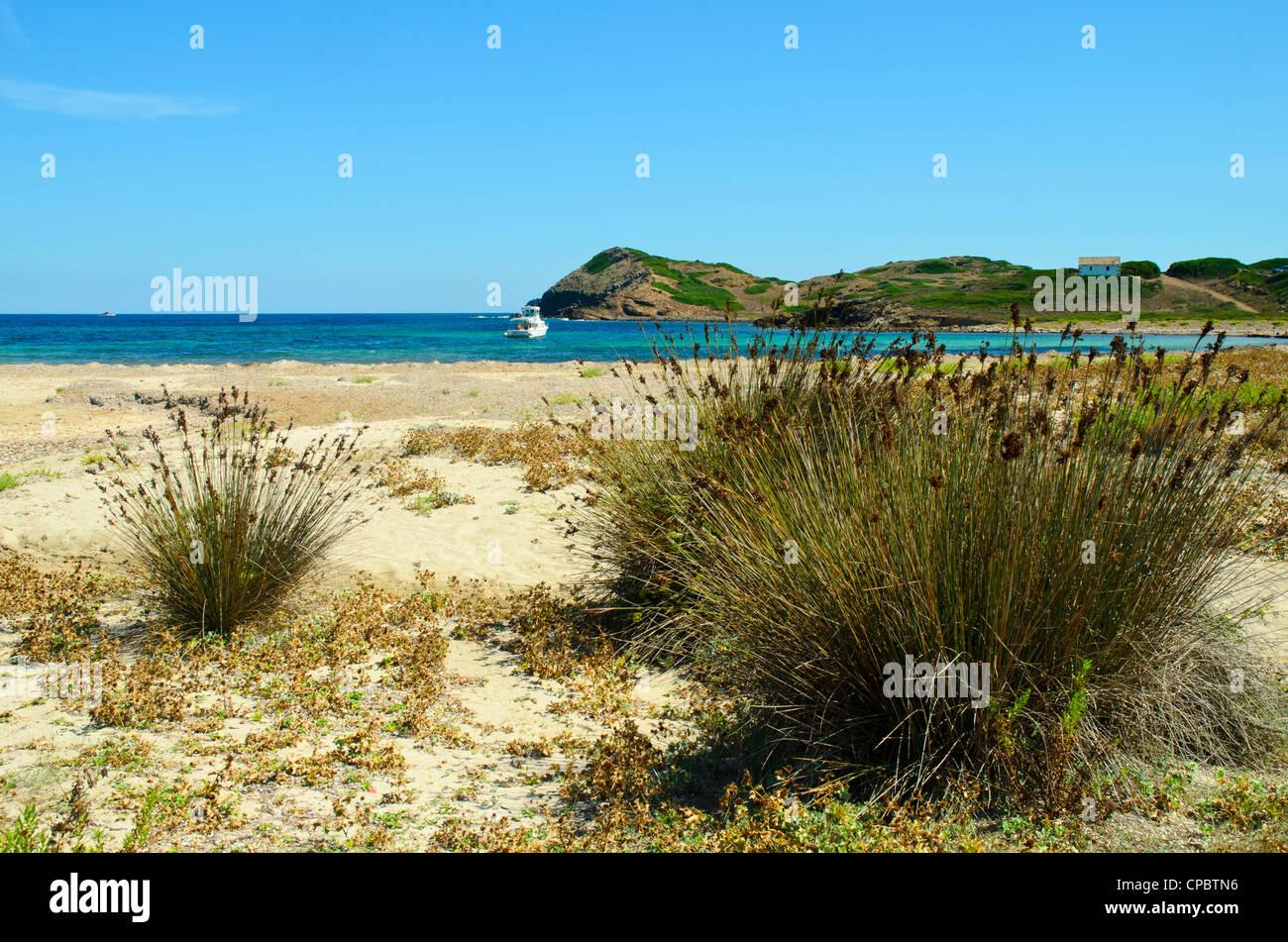 The bay of Cala de Sa Torreta on Menorca in the Balearic islands, Spain - Stock Image