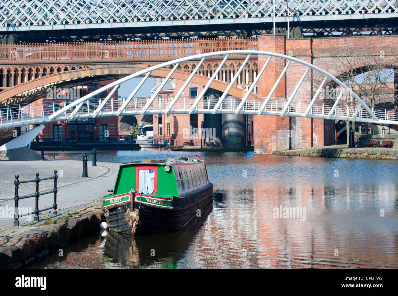 Merchants Bridge in Castlefield & The Bridgewater Canal, Manchester, England, UK - Stock Image