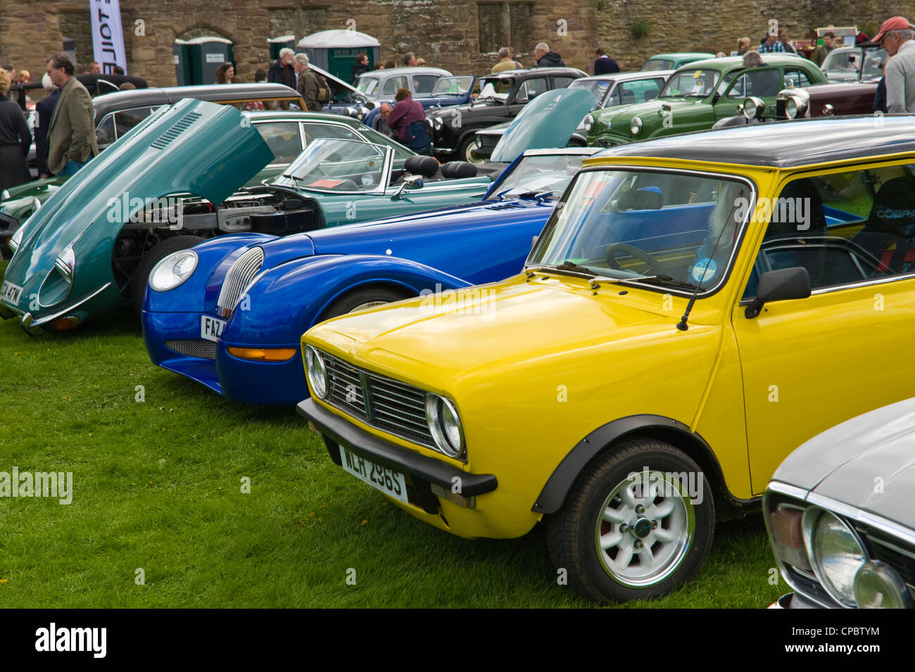 Lineup of modern British classic cars on display at the Marches ...