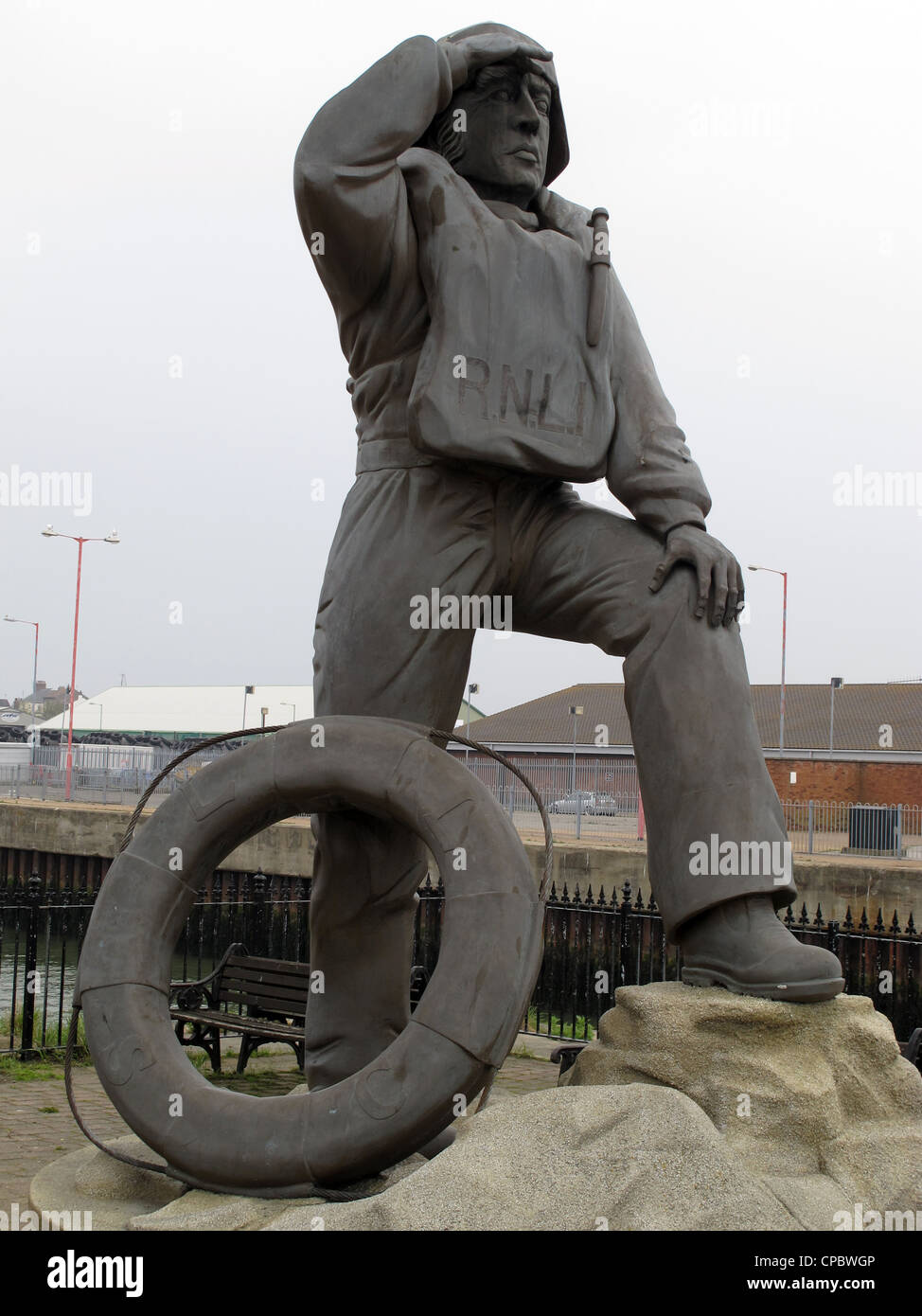 Statue of Lifeboat Captain in Lowestoft, Suffolk -1 - Stock Image