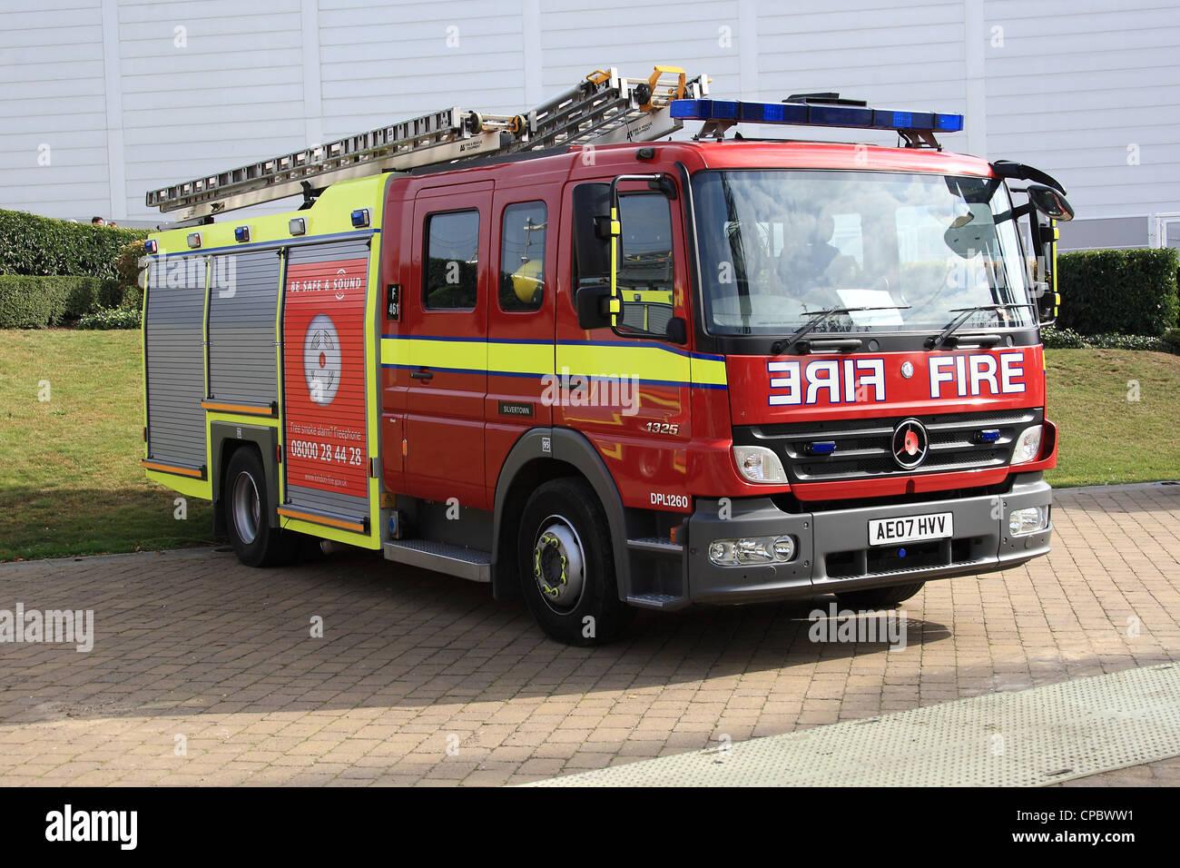 London Fire Brigade Mercedes Atego fire engine - Stock Image