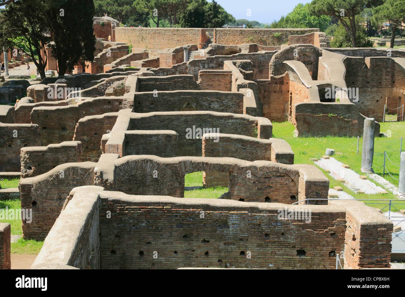 Italy Latium Ostia Antica overview - Stock Image