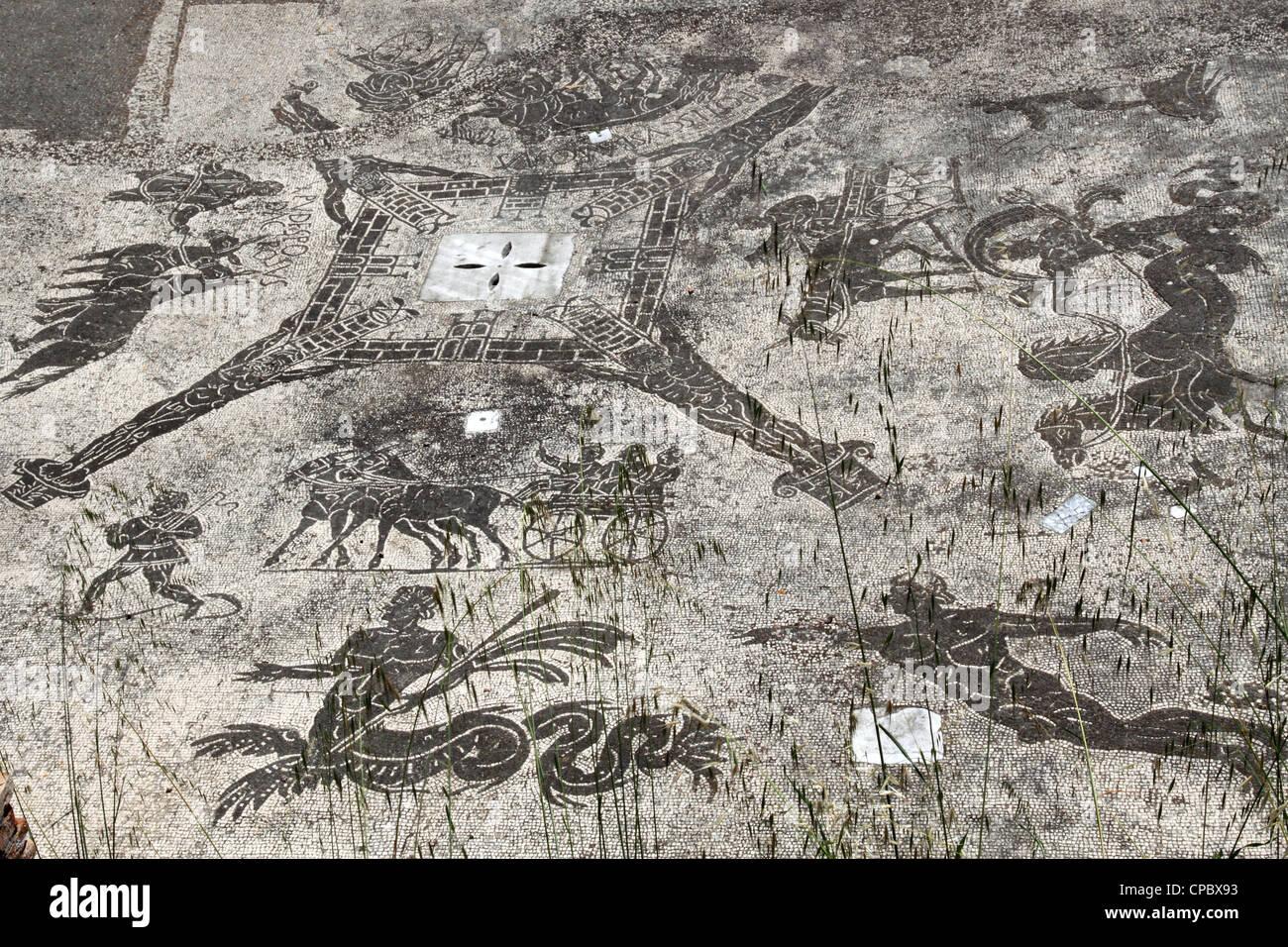 Italy Latium Ostia Antica, Mosaic in Terme Cisiarii Stock Photo