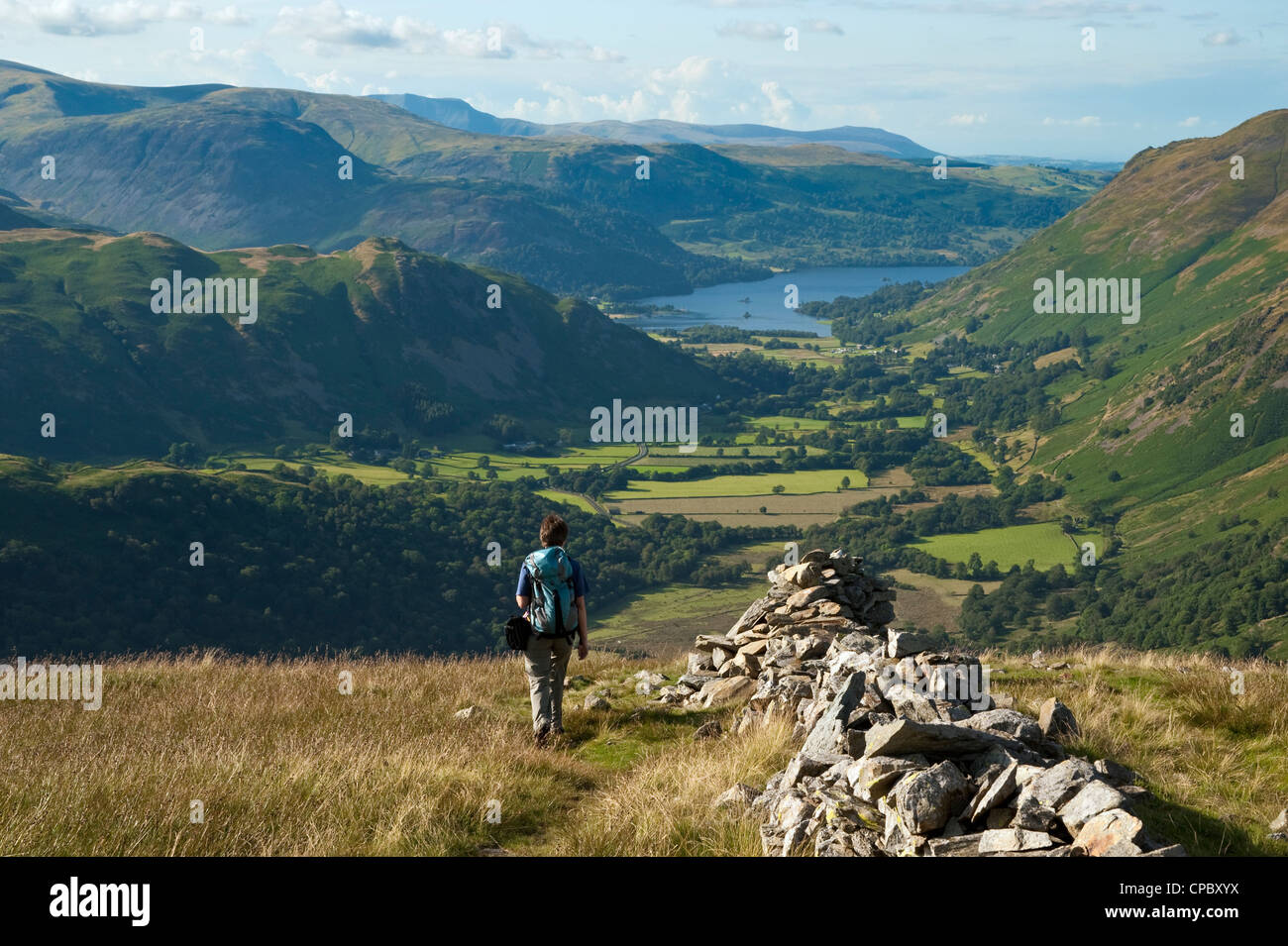 Walker descending Hartsop Dodd, overlooking Patterdale and Ullswater, Lake District - Stock Image