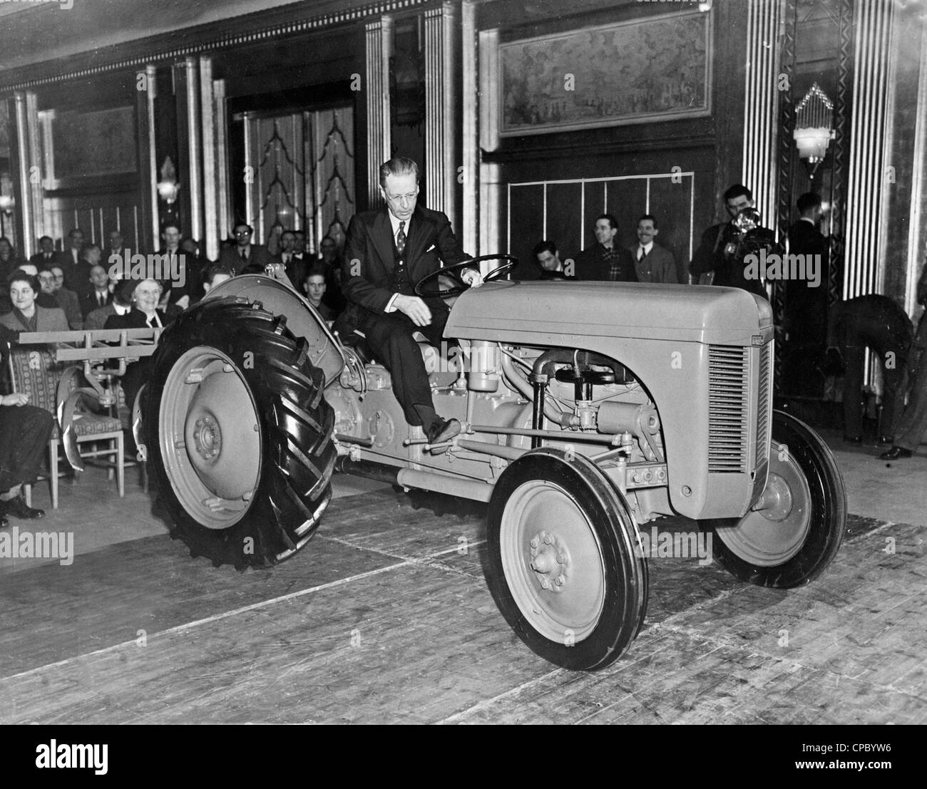 Farming came to Mayfair when Mr Harry Ferguson demonstrated his tractor in a luxurious hotel ballroom. - Stock Image