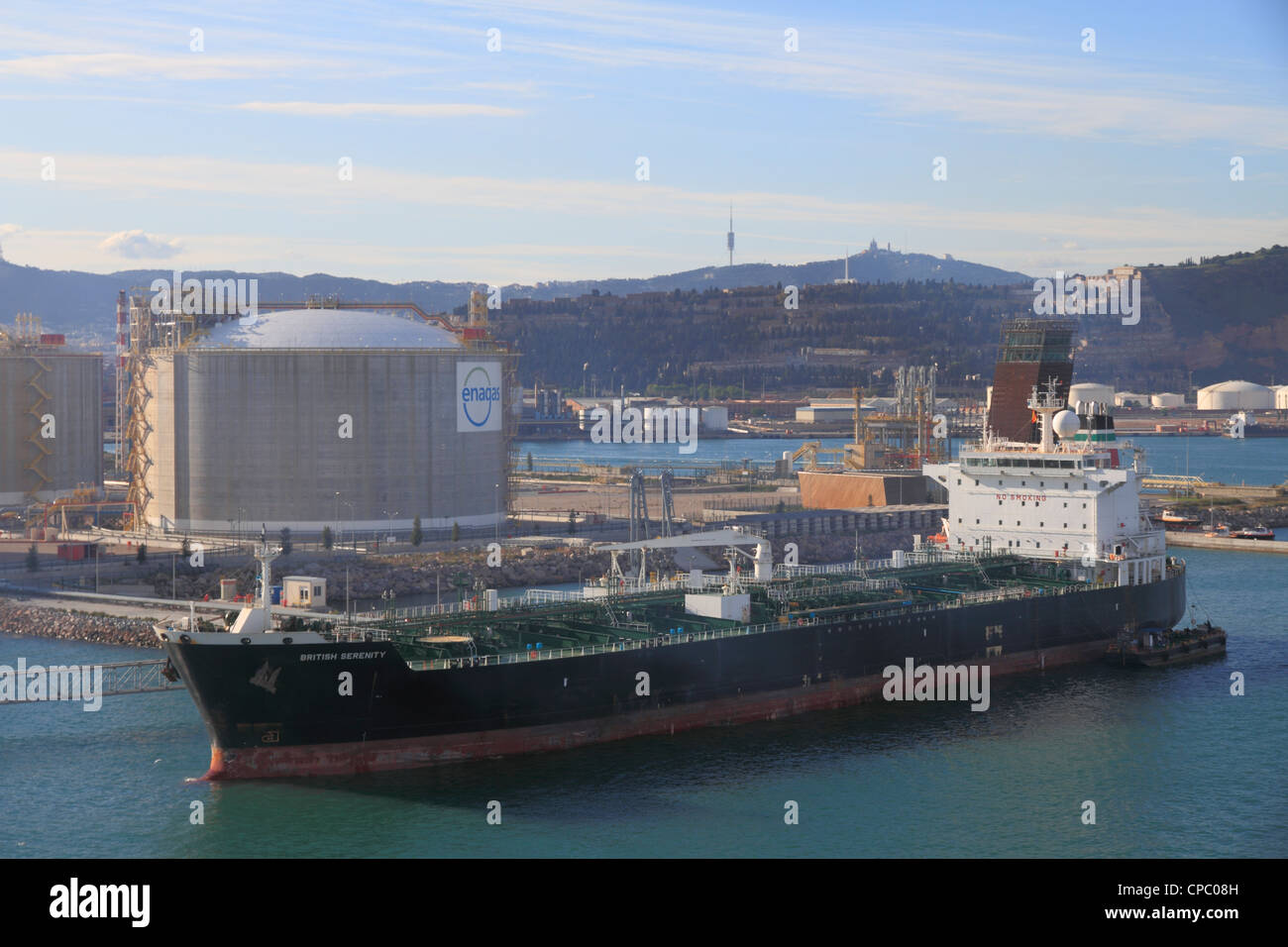 Spain Catalonia Barcelona, oil tanker terminal - Stock Image