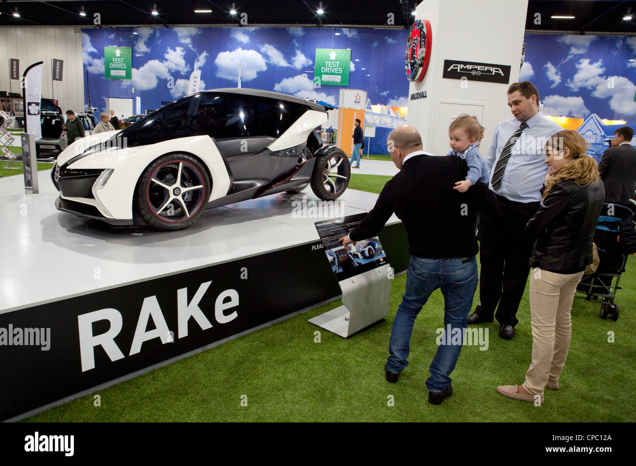 Vauxhall RAKe electric city car on display at EcoVelocity the low carbon motor event at Excel in London - Stock Image