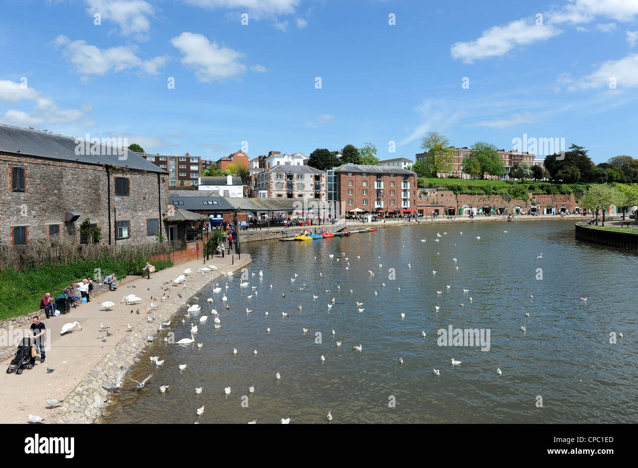 The River Exe at Exeter Quay, Exeter, Devon, UK - Stock Image