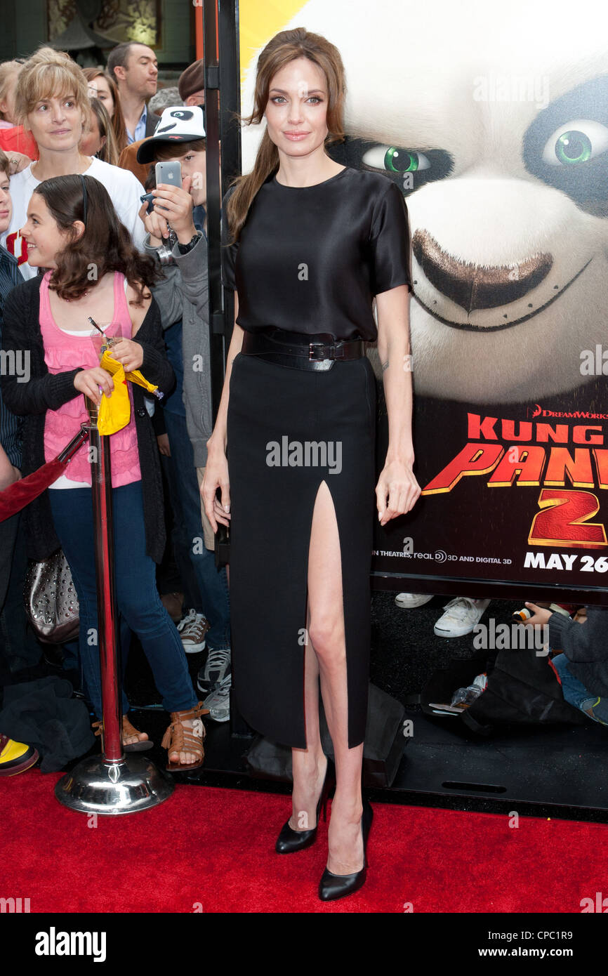 Angelina Jolie arrives at the Los Angeles premiere of Kung Fu Panda 2 at Grauman's Chinese Theatre. - Stock Image