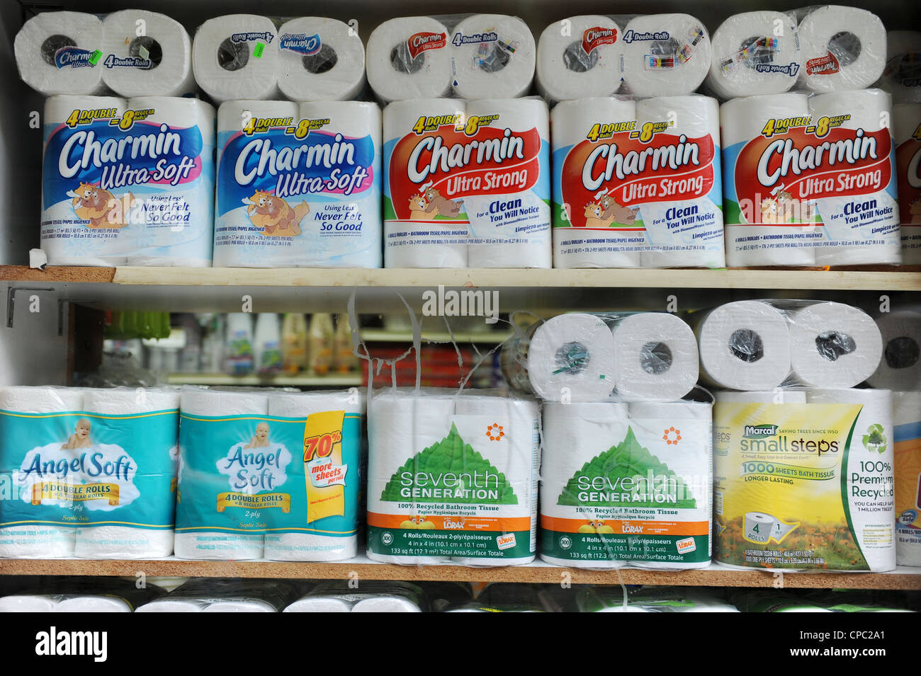 Different Brands Of Toilet Paper For Sale In A Shop In New