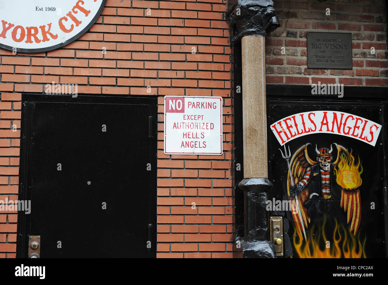 Hells Angels motorcycle club, headquarters East 3rd Street New York - Stock Image