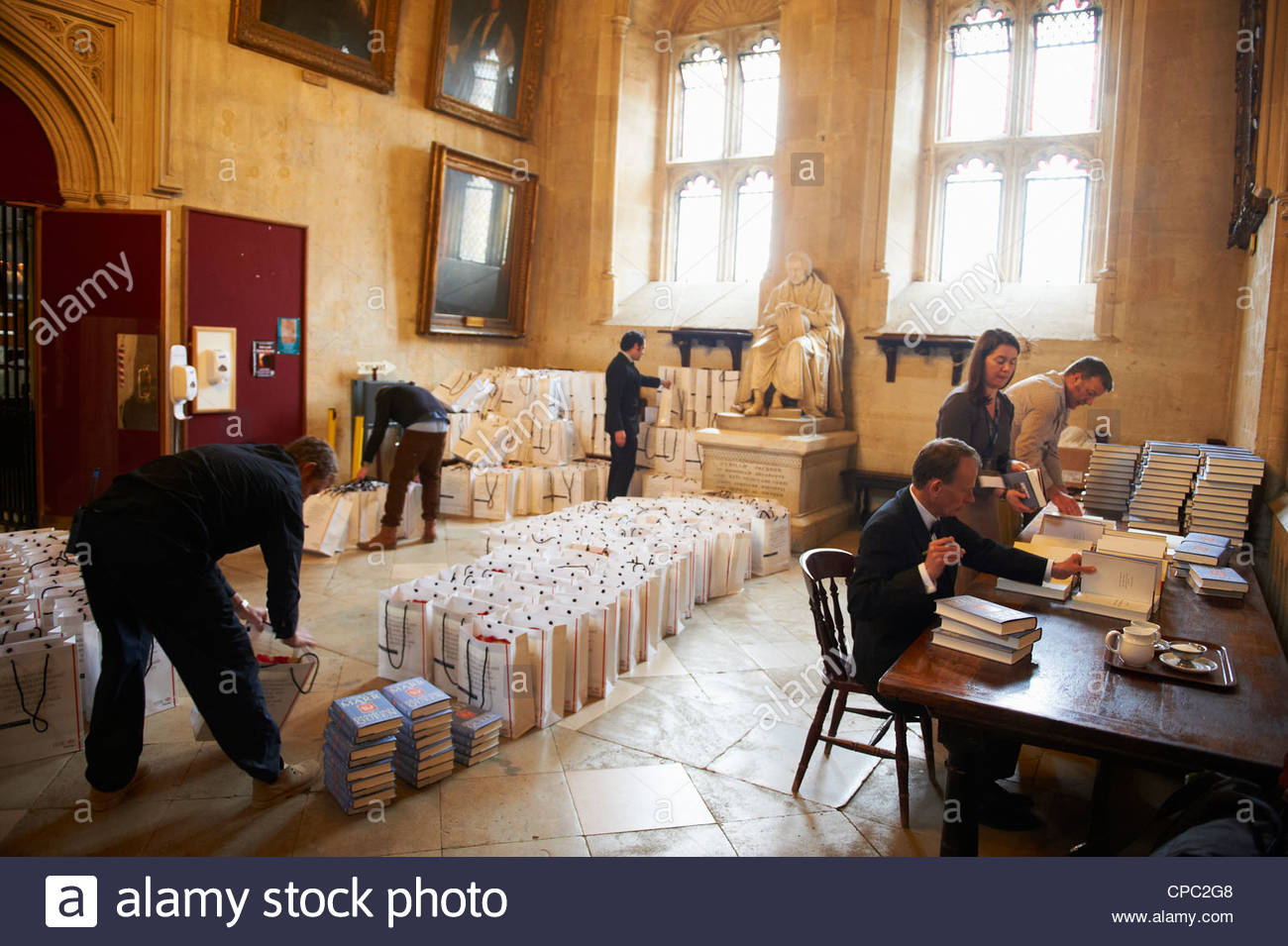 Adrew Marr signing copies of his book  at the Oxford Literary Festival. - Stock Image