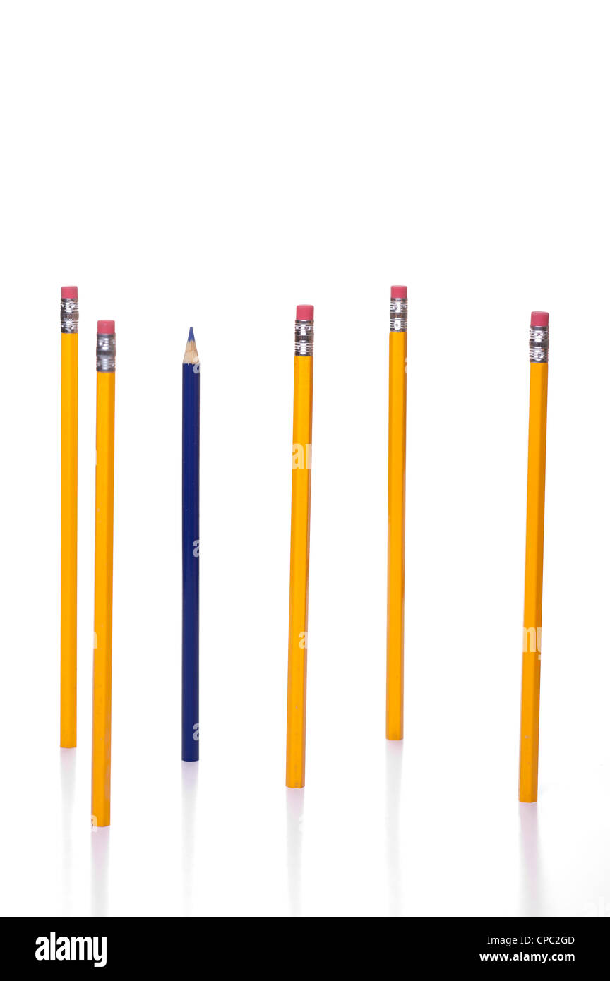 An individual blue coloring pencil among common yellow pencils. - Stock Image