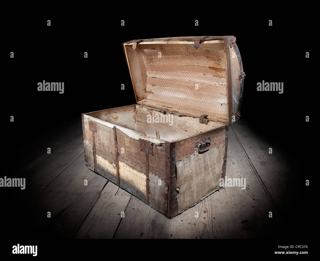Treasure chest is open and empty. Stock Photo