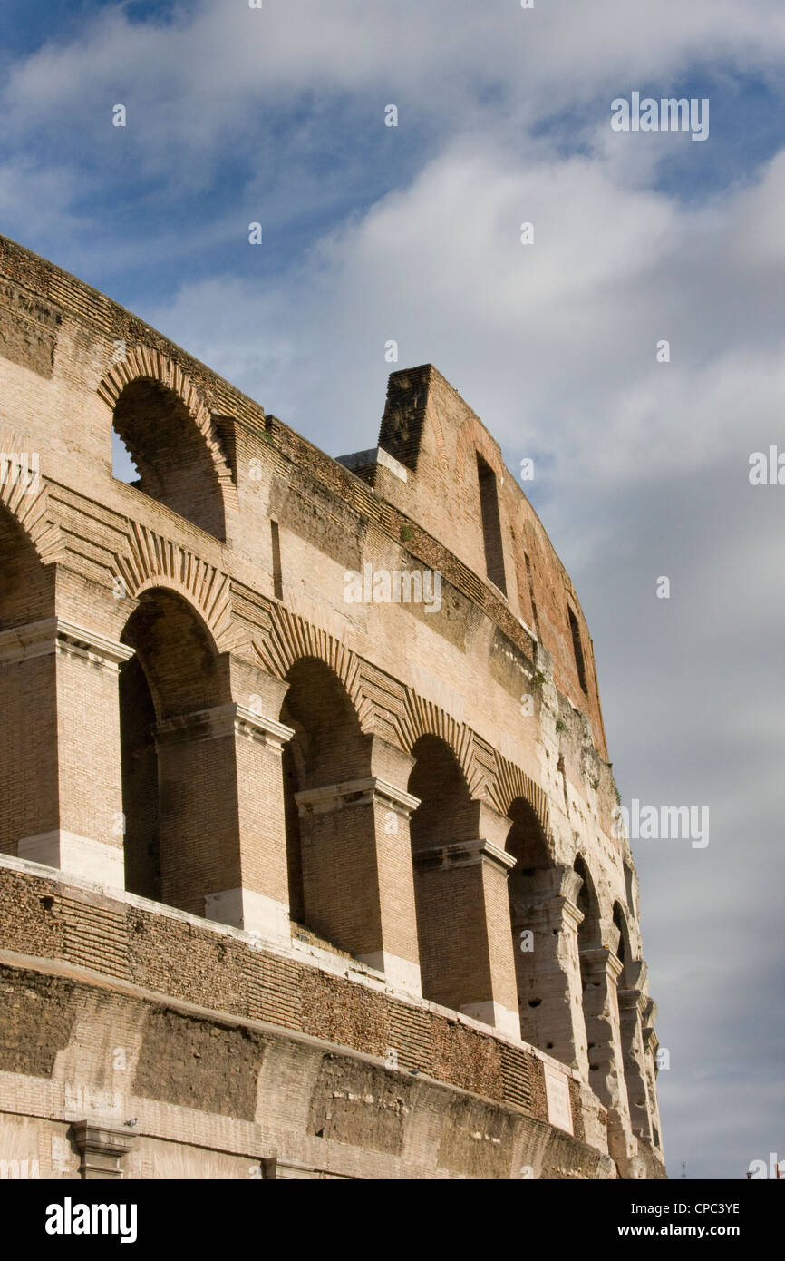 Side of ancient stone coliseum - Stock Image