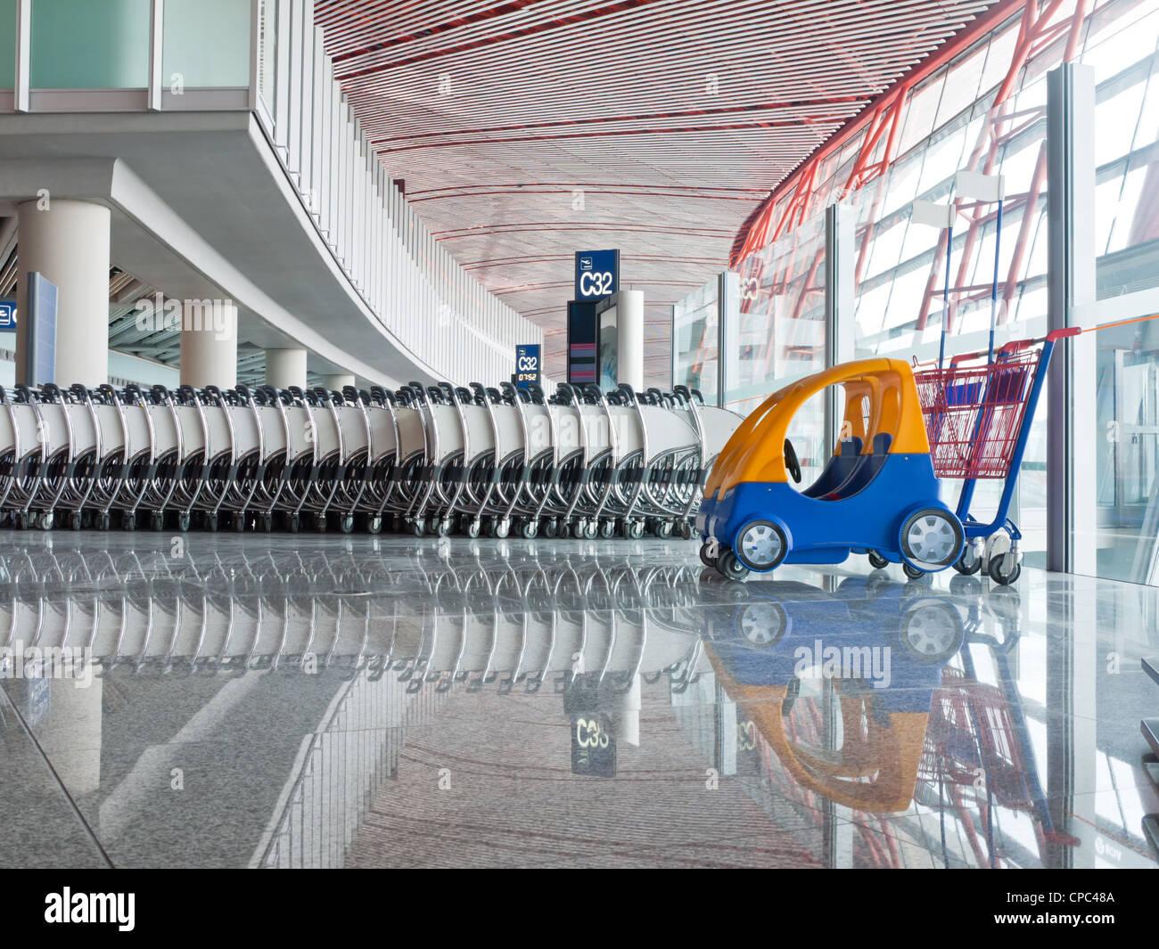Push cart at the airport - Stock Image