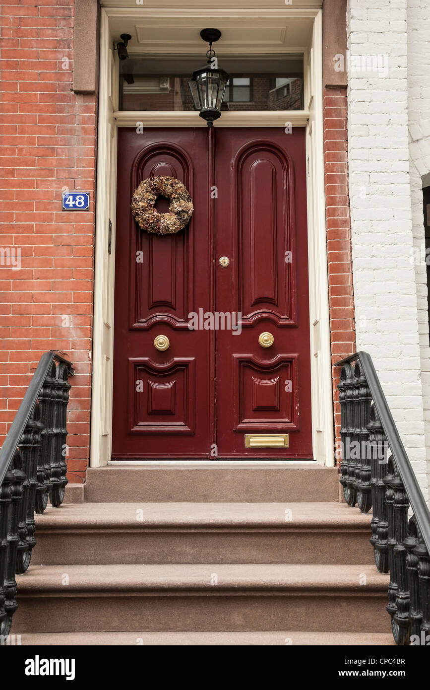Ornate wooden door and stoop West Greenwich Village NYC & Ornate wooden door and stoop West Greenwich Village NYC Stock ...