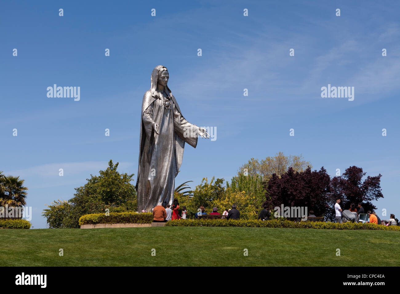 Stainless steel statue of the Virgin Mary - Stock Image