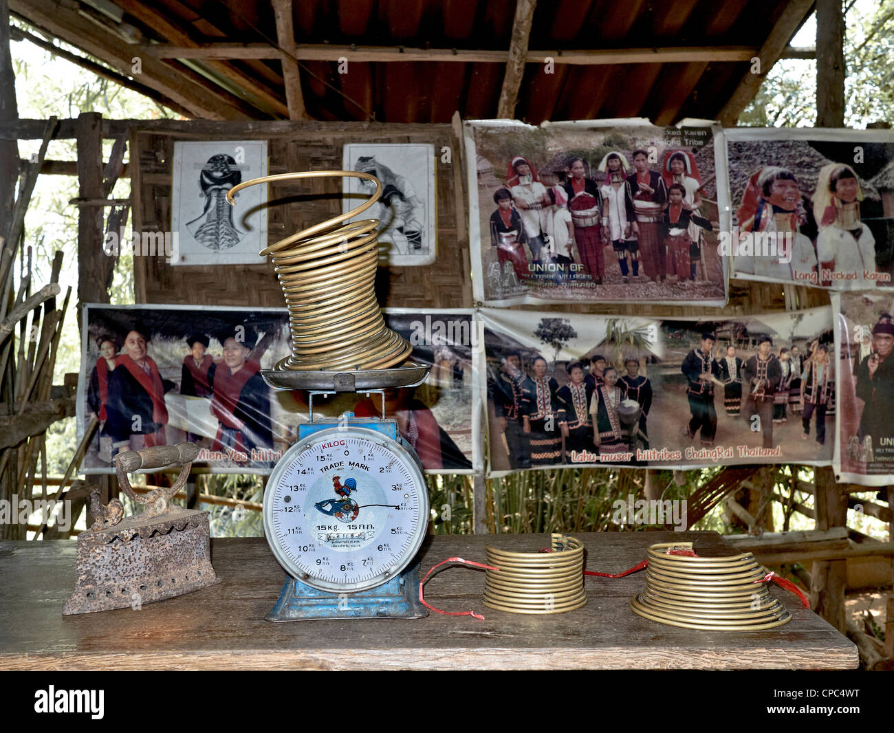 Display of neck rings and their weight at a long neck (Kayan) village. Chiang Mai Thailand. Hill tribes - Stock Image