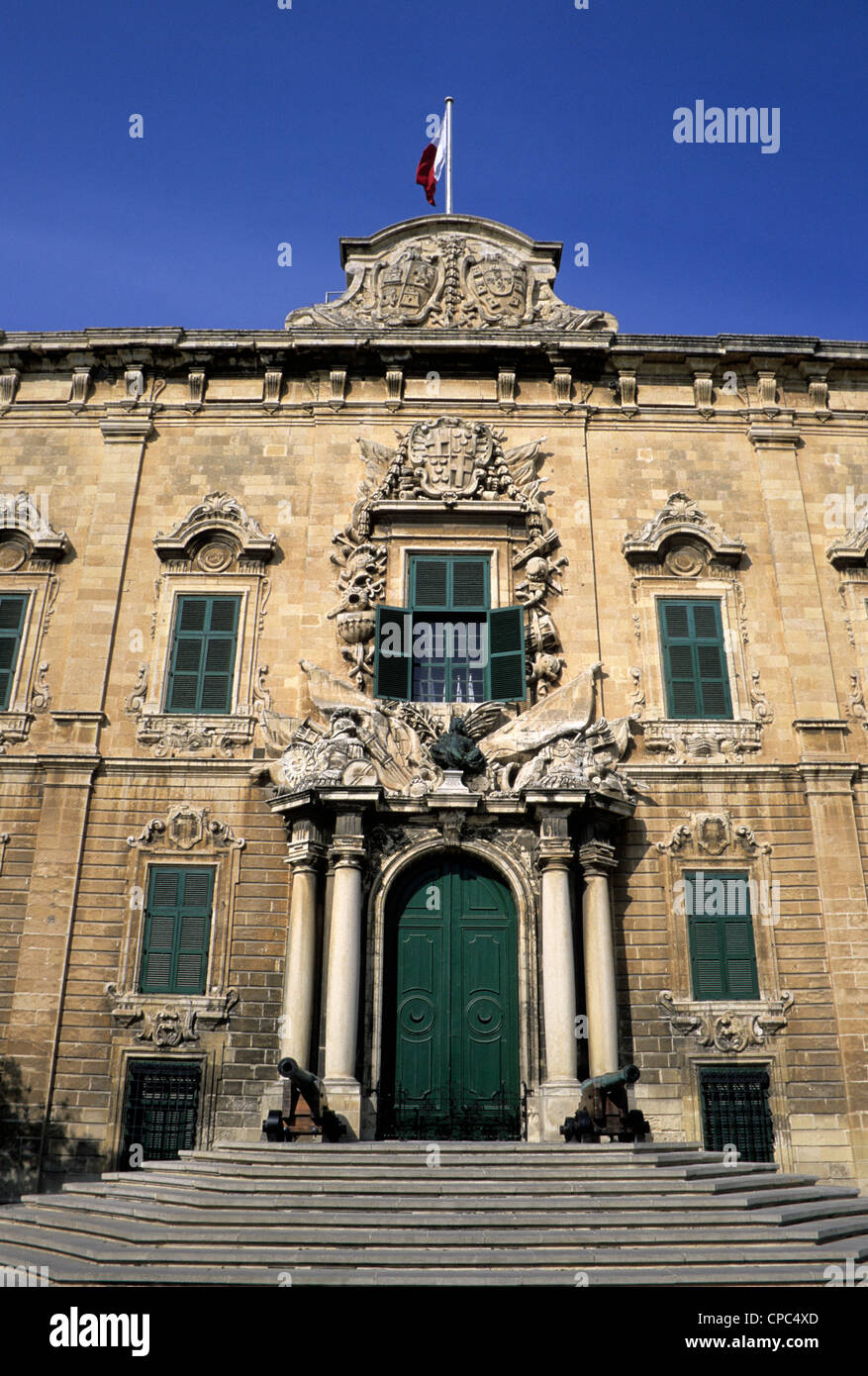 Valletta, Malta. Auberge de Castille, now the Prime Minister's Office. Stock Photo