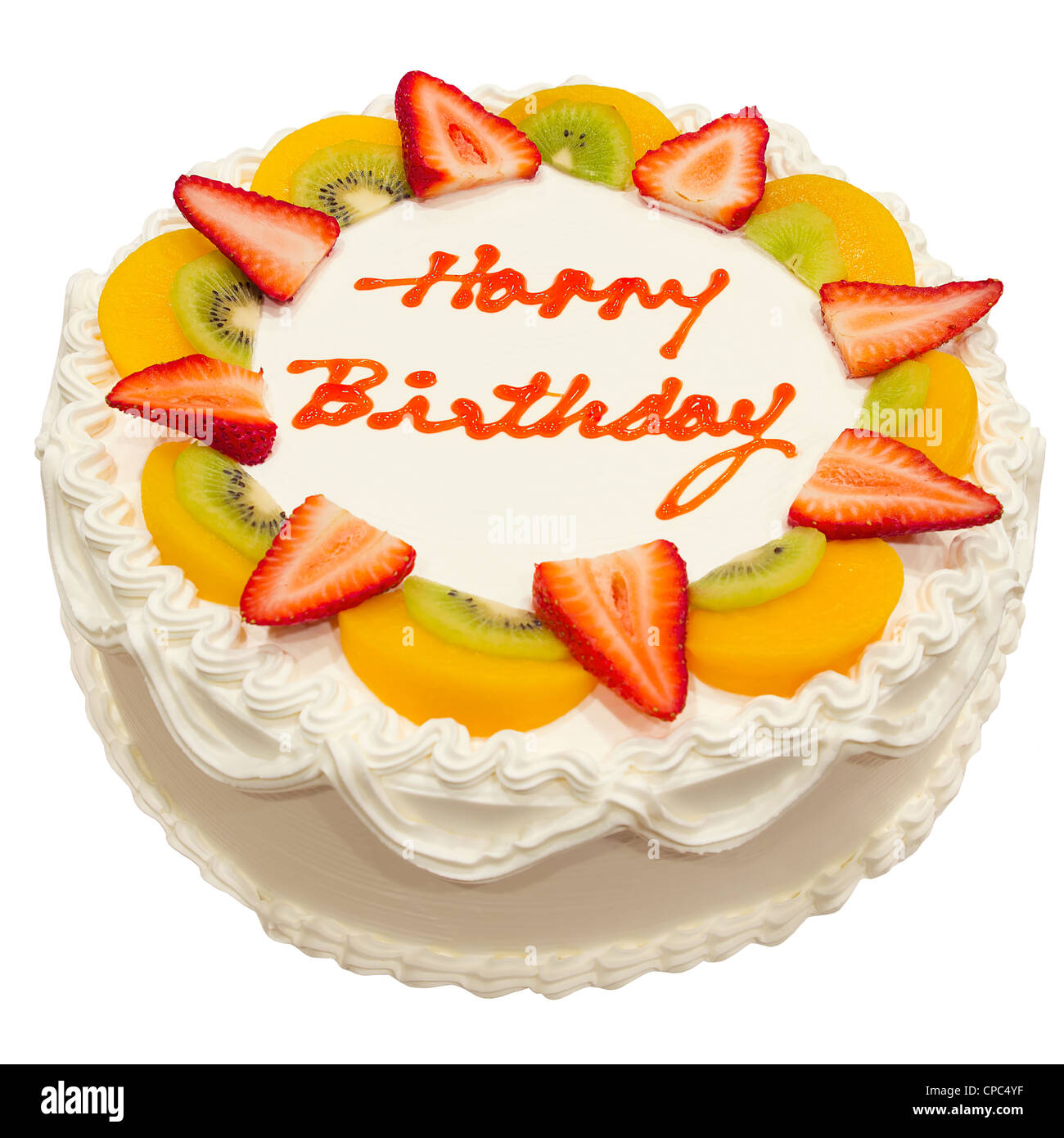 Happy Birthday Fresh Fruit Cake Isolated on White Background Stock