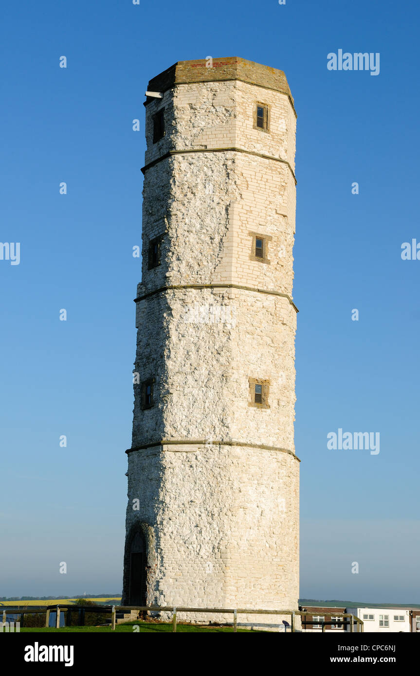 Old Beacon Lighthouse .Chalk tower now restored Flamborough Head Yorkshire England UK. Stock Photo