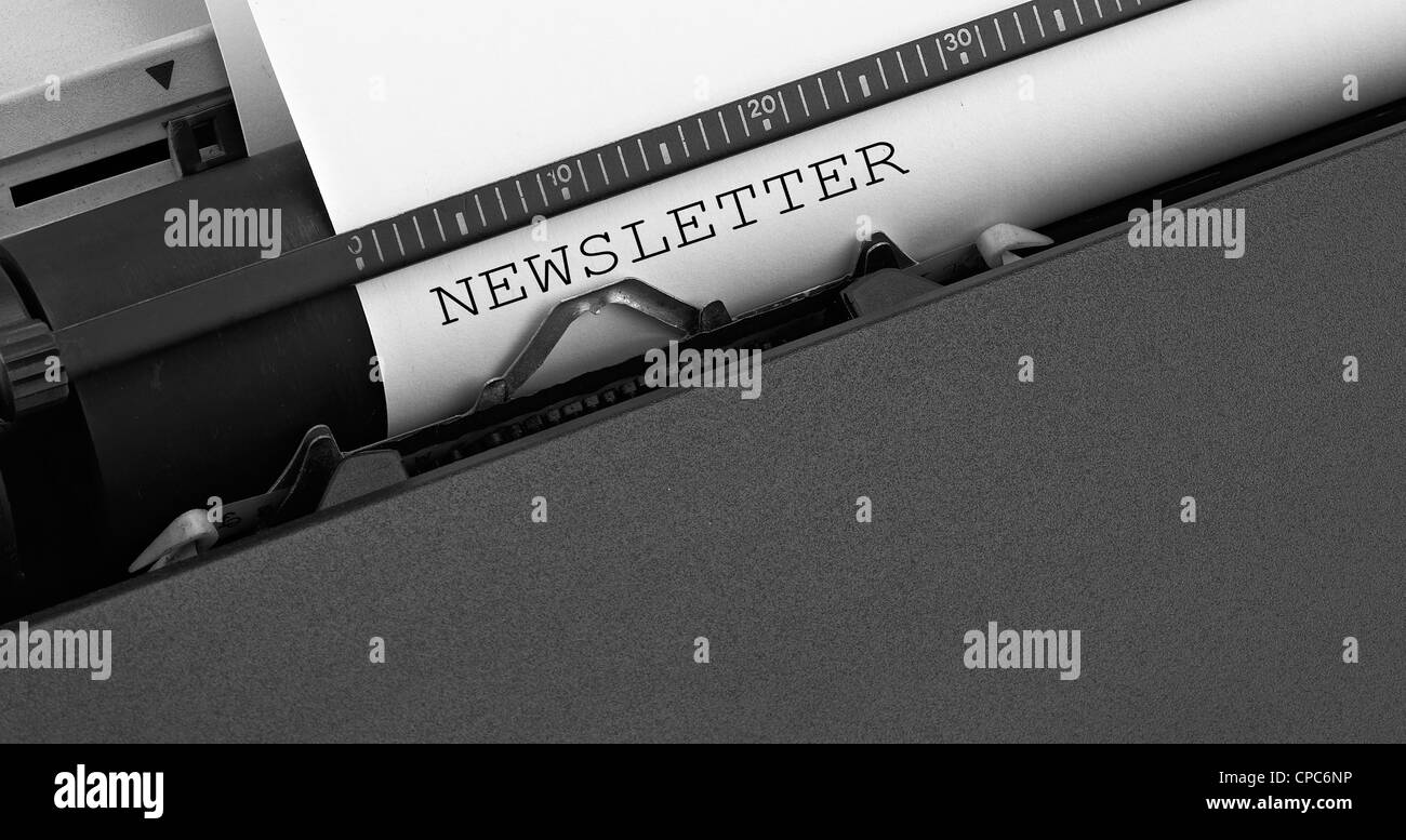 """""""newsletter"""" message typed by vintage typewriter. Stock Photo"""