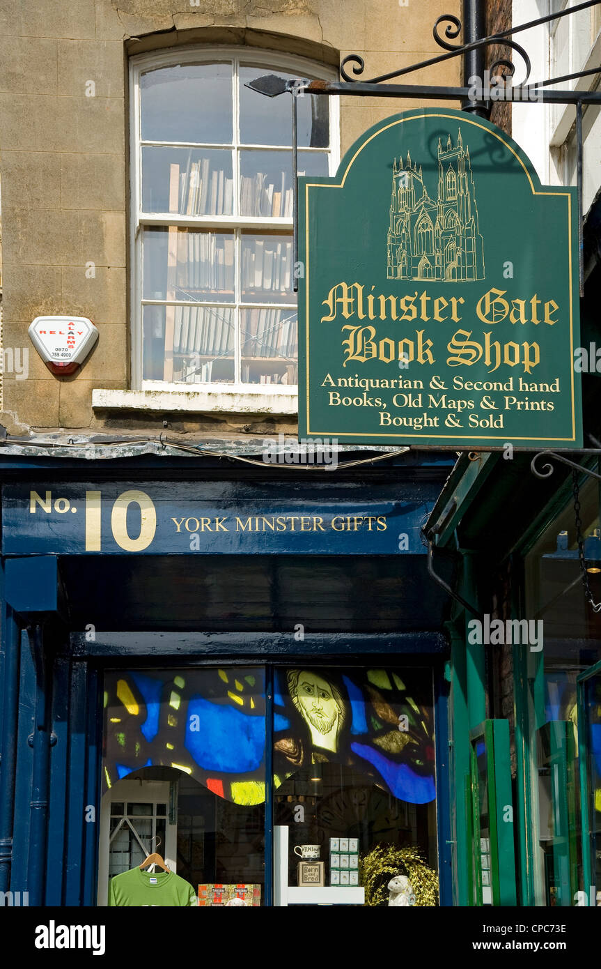 Sign outside bookshop Minster Gates York North Yorkshire England UK United Kingdom GB Great Britain - Stock Image