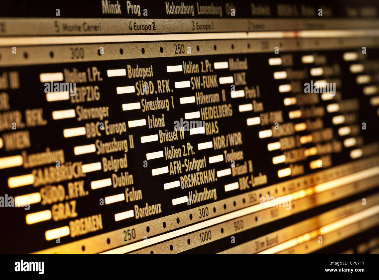 Analog display of a tube radio. - Stock Image