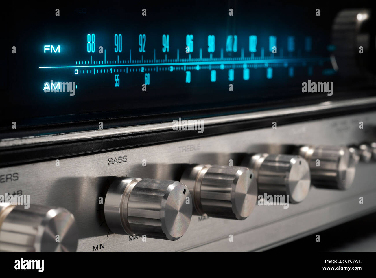 Analog display of an old stereo receiver. - Stock Image