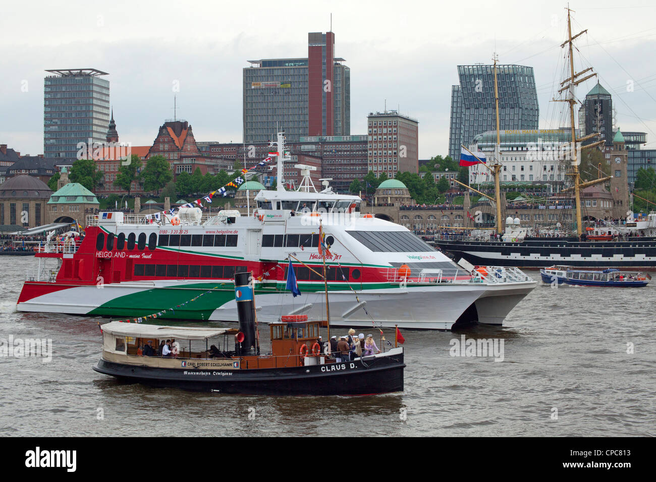 excursion boat and steamboat, entering port parade, Harbour Birthday, Hamburg, Germany Stock Photo