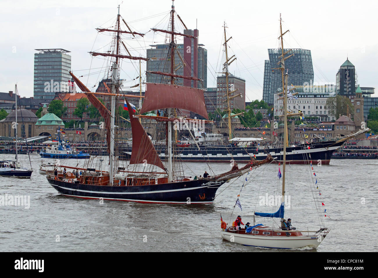 sailing ships, entering port parade, Harbour Birthday, Hamburg, Germany Stock Photo