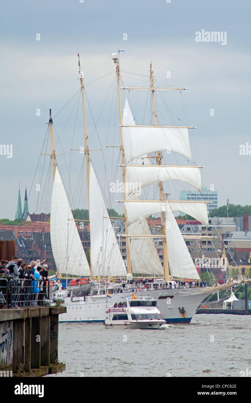 sailing ship Star Flyer, entering port parade, Harbour Birthday, Hamburg, Germany Stock Photo